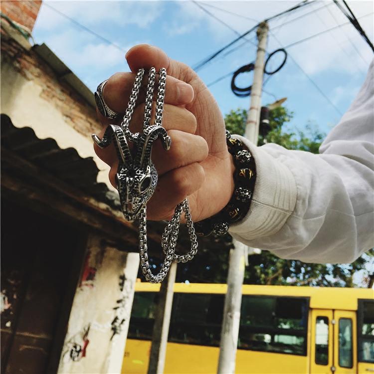 欧美暗黑元素羊头骷髅项链潮牌男女个性朋克复古嘻哈吊坠学生饰品