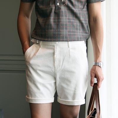 Mùa hè thường quần short trắng Người Anh thoải mái thời trang hoang dã yếm nam của Hàn Quốc thiết kế quần short trẻ Quần làm việc