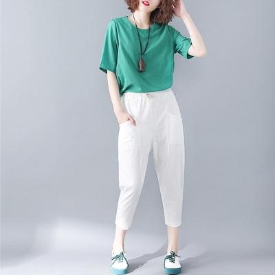 2018 mùa hè chất béo mm kích thước lớn quần quần đàn hồi eo cotton linen cắt quần cà rốt quần lỏng chân thường quần Khởi động cắt