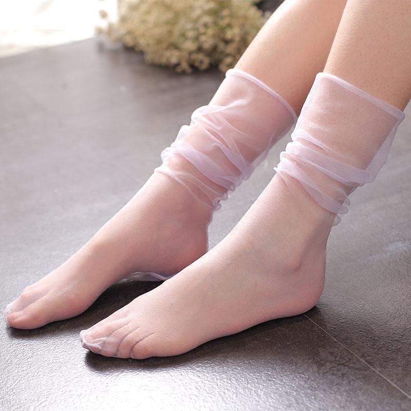 日系夏日高级薄纱网袜仙女时尚百搭堆堆袜森系复古风透气仙女袜子