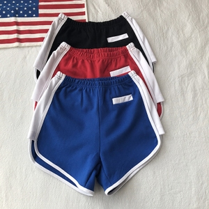 Mỹ retro cao eo là mỏng màu xanh thể thao quần short bên khe hở sọc dọc tập thể dục chạy casual hot quần màu xanh nữ