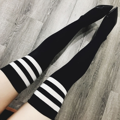 ZZ骨ZZ 特街头百搭黑白条拼色显瘦打底袜中筒袜大腿袜