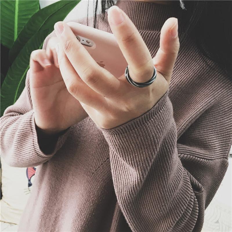 莫比乌斯复古潮人情侣戒指钛钢个性开口时尚旋钮指环潮牌学生礼物