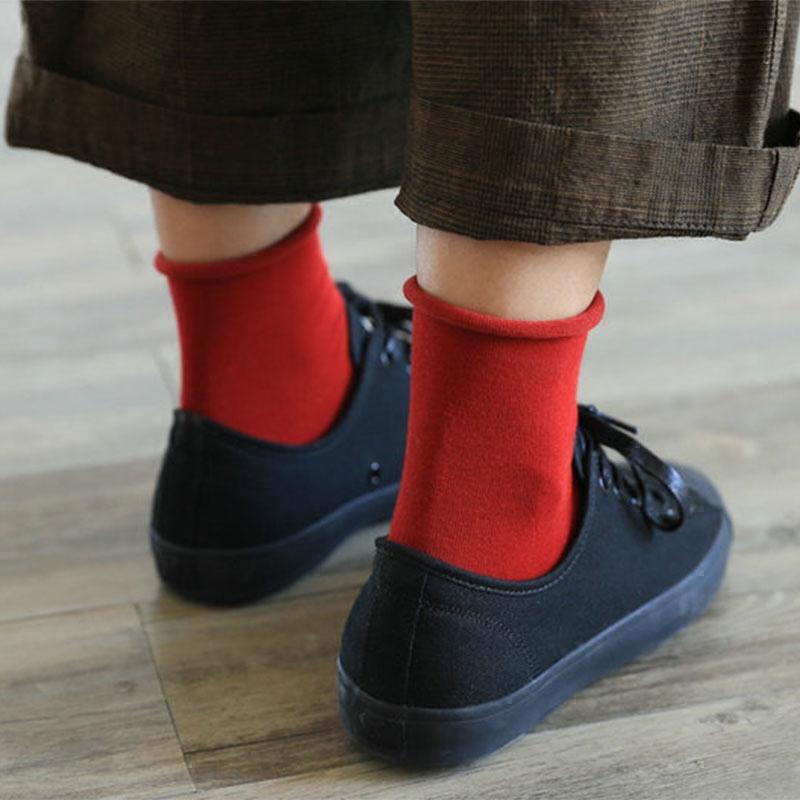 韩国百搭全棉松口短袜无骨四季百搭袜子女学生精梳棉糖果色堆堆袜