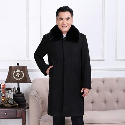 Đặc biệt hàng ngày trung niên áo khoác nam trung niên của nam giới len dài coat coat mùa đông cộng với nhung daddy Áo len
