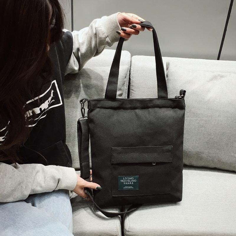 斜挎帆布包女单肩百搭韩国大热ins布袋斜跨大容量学生书包购物袋