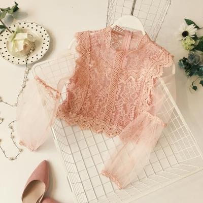 秋装女韩甜美公主蕾丝拼接网纱灯笼袖高腰露脐百搭上衣蕾丝衫