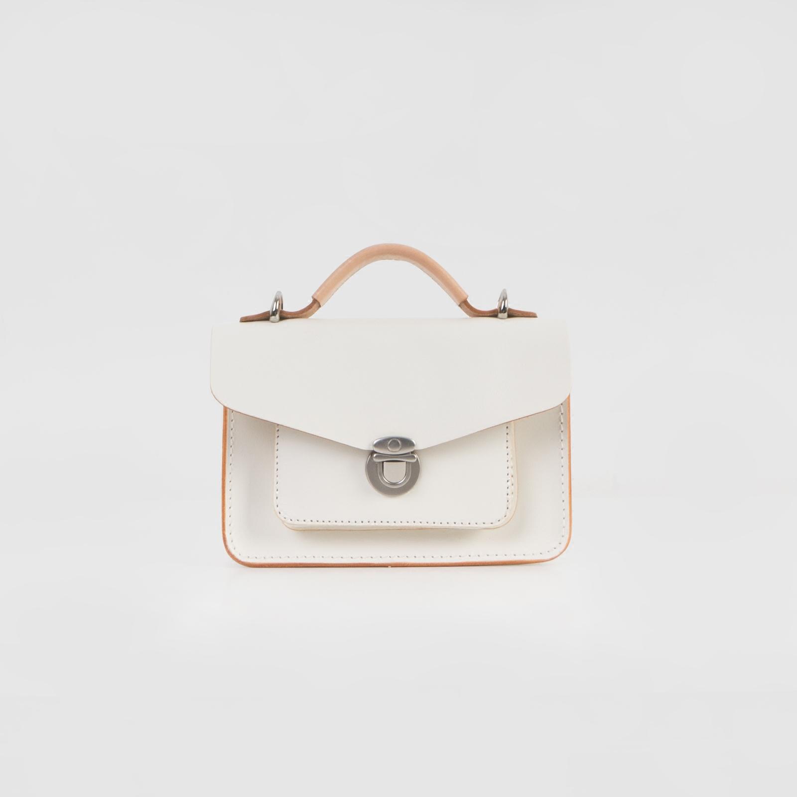 七月夏卡尔2017新款头层植鞣牛皮白色迷你邮差包单肩斜挎小方包女