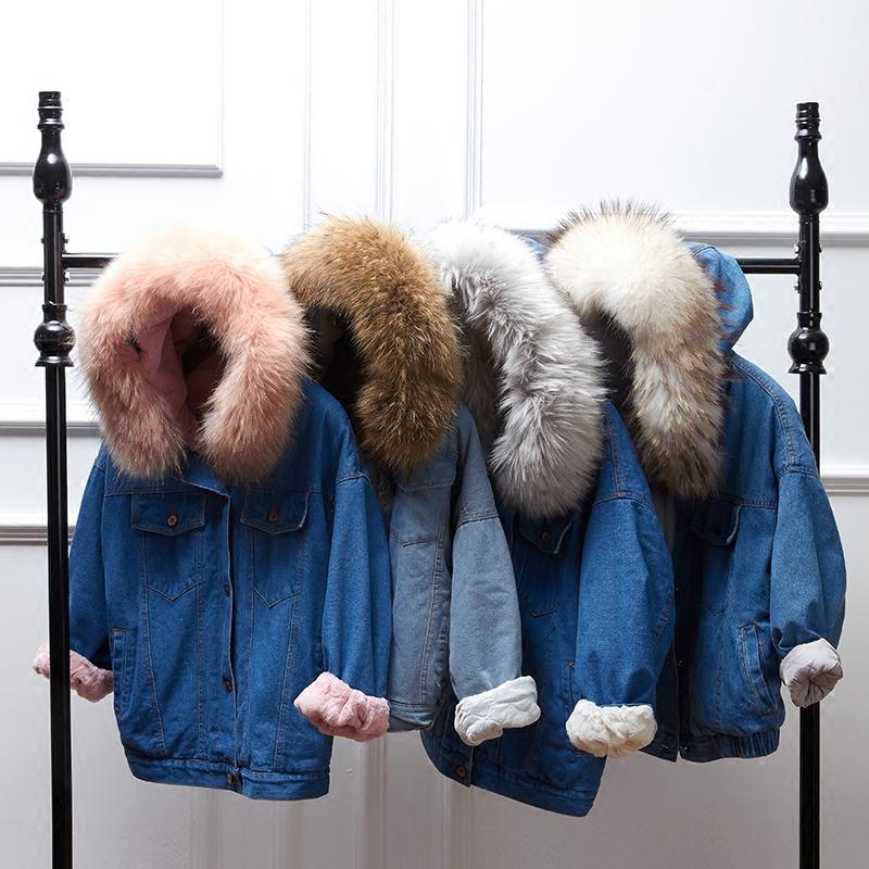 短款棉衣女冬新款韩版宽松羊羔毛连帽棉服大毛领加绒加厚牛仔外套