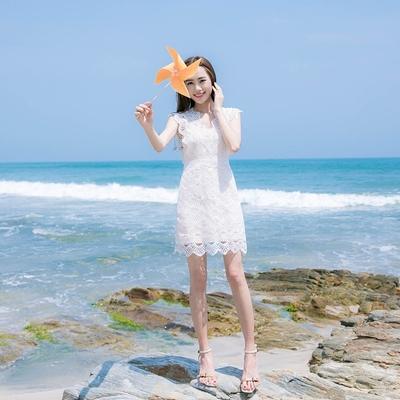 夏季新款女装修身显瘦气质V领蕾丝连衣裙名媛小香风A字短裙子