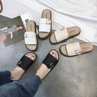 拖鞋女夏时尚外穿新款港风百搭学生皮带扣