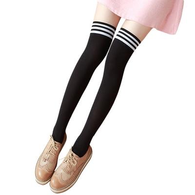 高筒丝袜日系长袜条纹中长筒袜过膝学生袜子女春秋薄款半截大腿袜