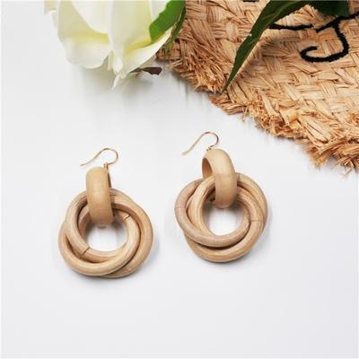 韩国东大门复古抽象小众特别夸张木质环绕圆环耳钉耳环扣女