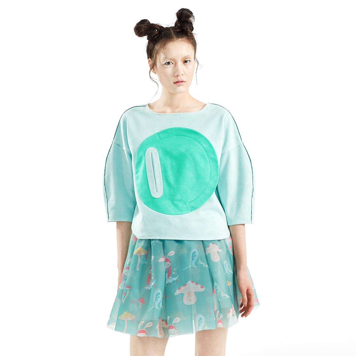 SUNGDO GIN白日梦新品绿色趣味兔子印花欧根纱半裙短裙
