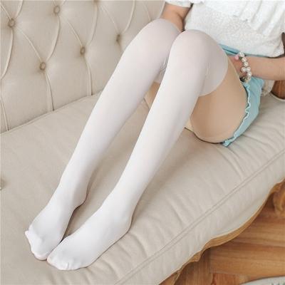 夏季薄款日系可爱假高筒过膝长筒白色打底丝袜女萝莉性感连裤袜子