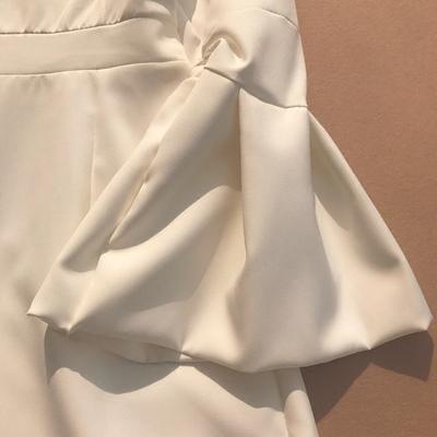 欧美春季新款时尚女装长袖交叉V领 连体裤短裤阔腿裤度假风