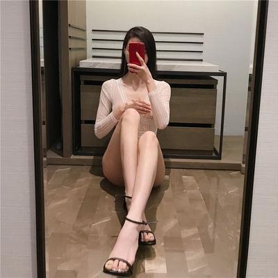 春夏新款性感低胸露背上衣修身显瘦连体衣打底细腻蕾丝衫女