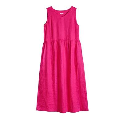 [Mùa Hè màu đỏ ~ Rose] mười mét gỗ gốc 2018 mùa hè mới du lịch nghệ thuật linen vest váy với một vành đai