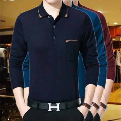 Mùa hè lụa phần mỏng ve áo dài tay băng lụa T-Shirt nam cotton cha nạp trung niên áo sơ mi 40-50 tuổi 60 áo thun burberry Áo phông dài