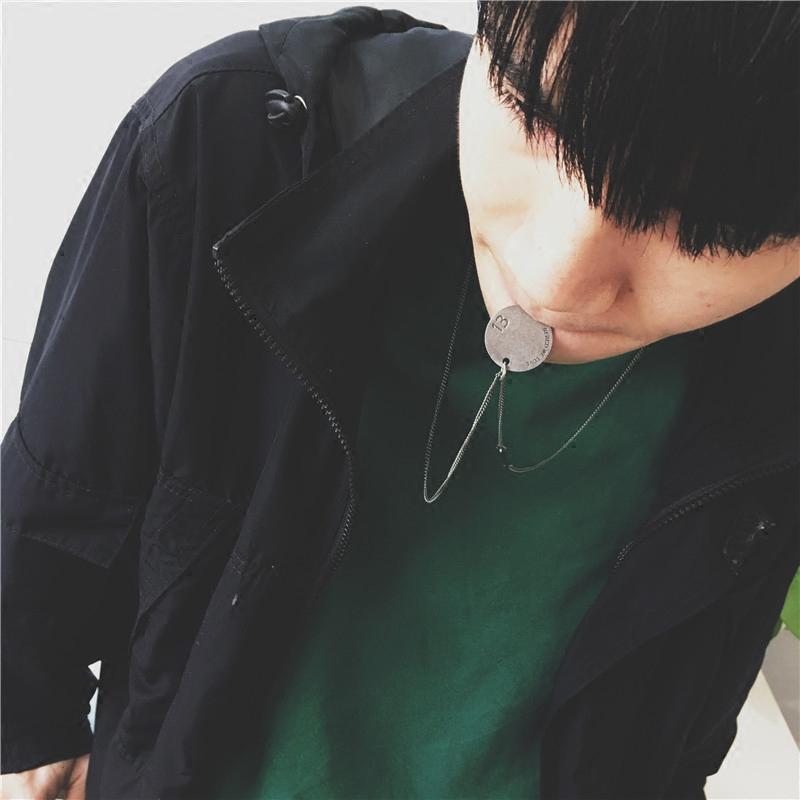 韩国潮牌圆饼1341项链情侣个性吊坠金色钛钢链子男女时尚服饰配链