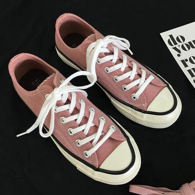 1970磨砂情侣百搭粉色亮头平底低帮春秋透气帆布滑板鞋子