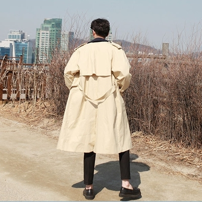 2018 mùa xuân mới áo gió nam dài phần đầu gối phần mỏng trai lỏng đôi ngực áo gió giản dị áo khoác nam