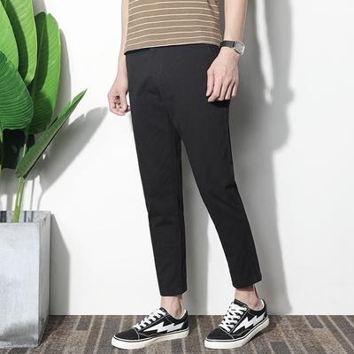 2018 mùa hè phần mỏng quần nam quần Hàn Quốc phiên bản của xu hướng quần nam mỏng màu đen 9 điểm feet quần âu Crop Jeans