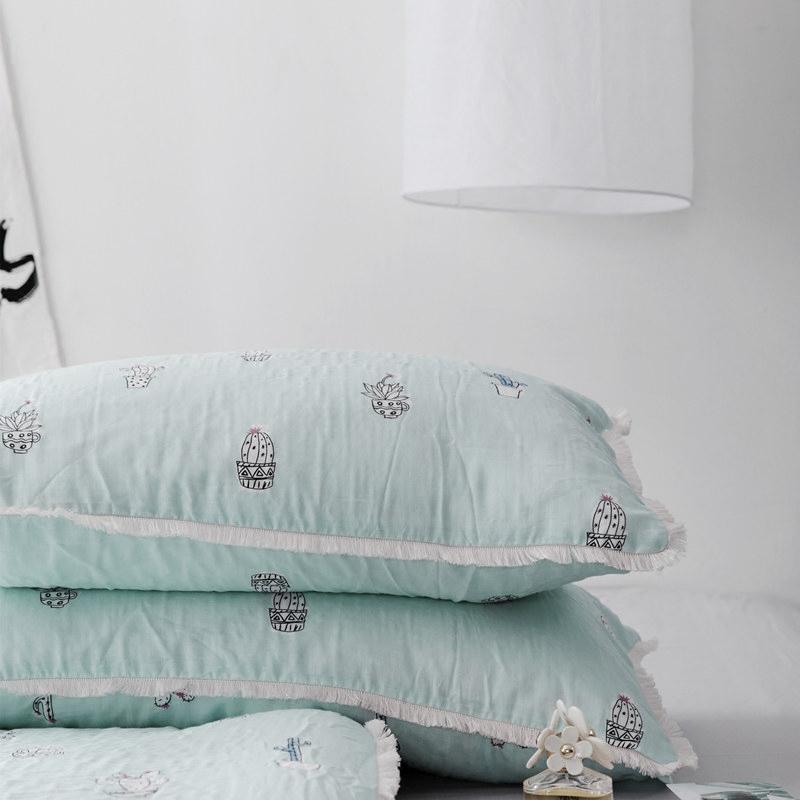 全棉双层纱布四件套流苏花边小清新可爱卡通纯棉被套床单床上用品