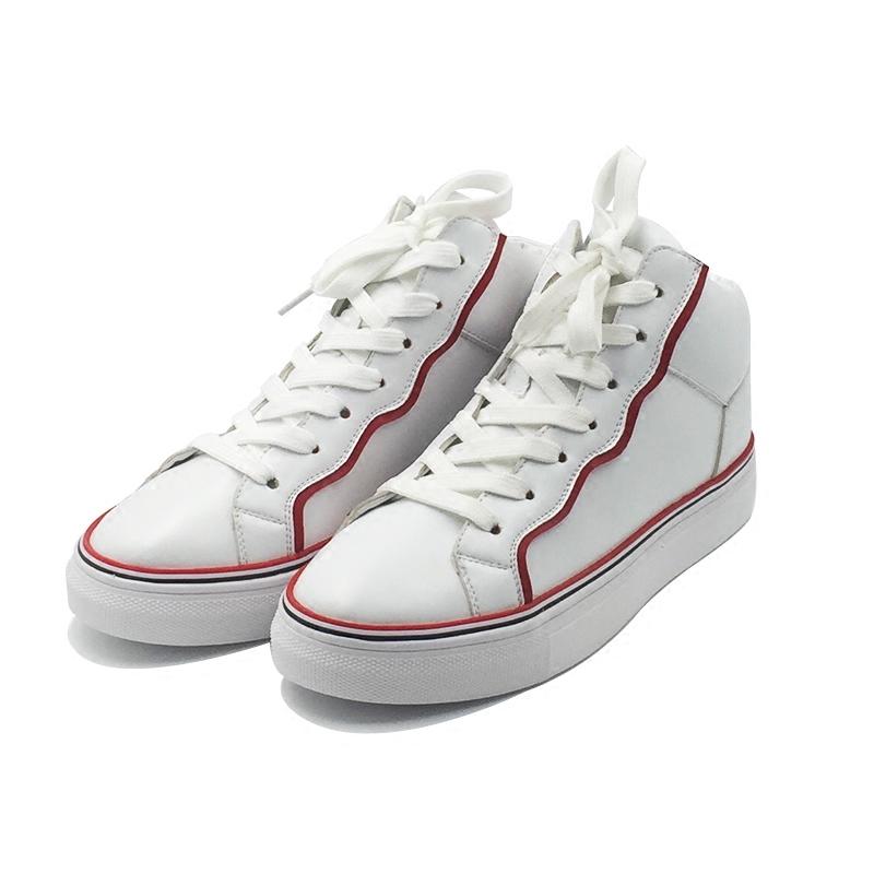 平底休闲高帮系带小白鞋
