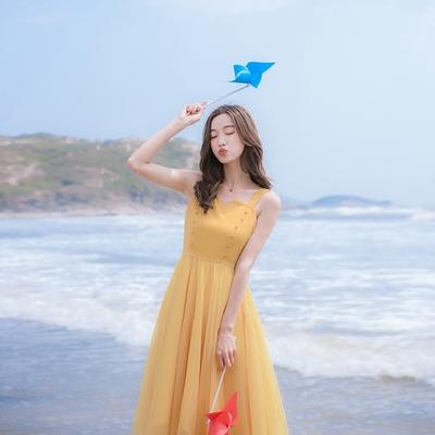 夏季新款女装修身吊带网纱海边度假连衣裙沙滩裙夏很仙的裙子