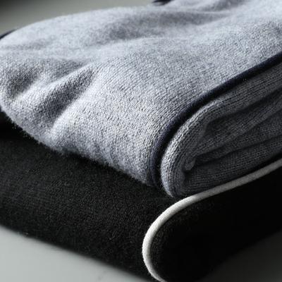 DXIAN đẹp màu sắc tương phản cao cổ áo len mùa thu và mùa đông ấm áp cashmere len pha trộn cao cổ áo của nam giới slim knit áo len