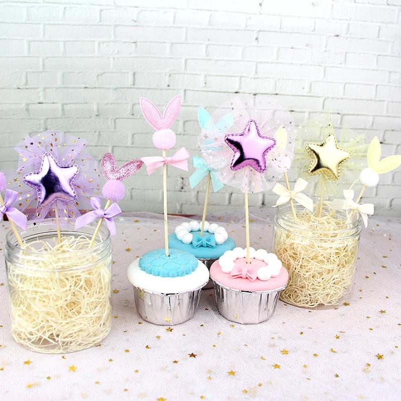 蛋糕装饰闪耀兔耳朵蝴蝶结蛋糕插牌 蕾丝五角星3个装派对生日蛋糕